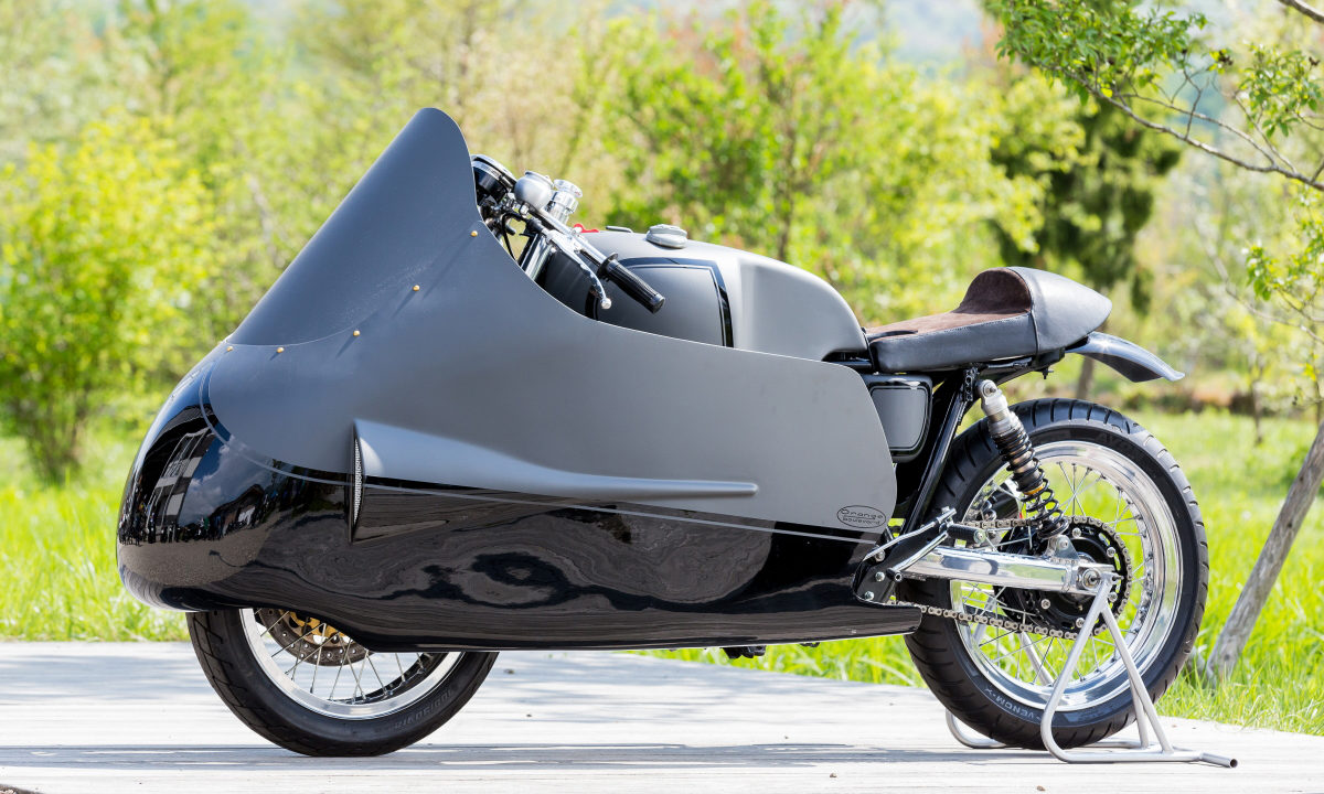 Yamaha SR400 custom dustbin fairing