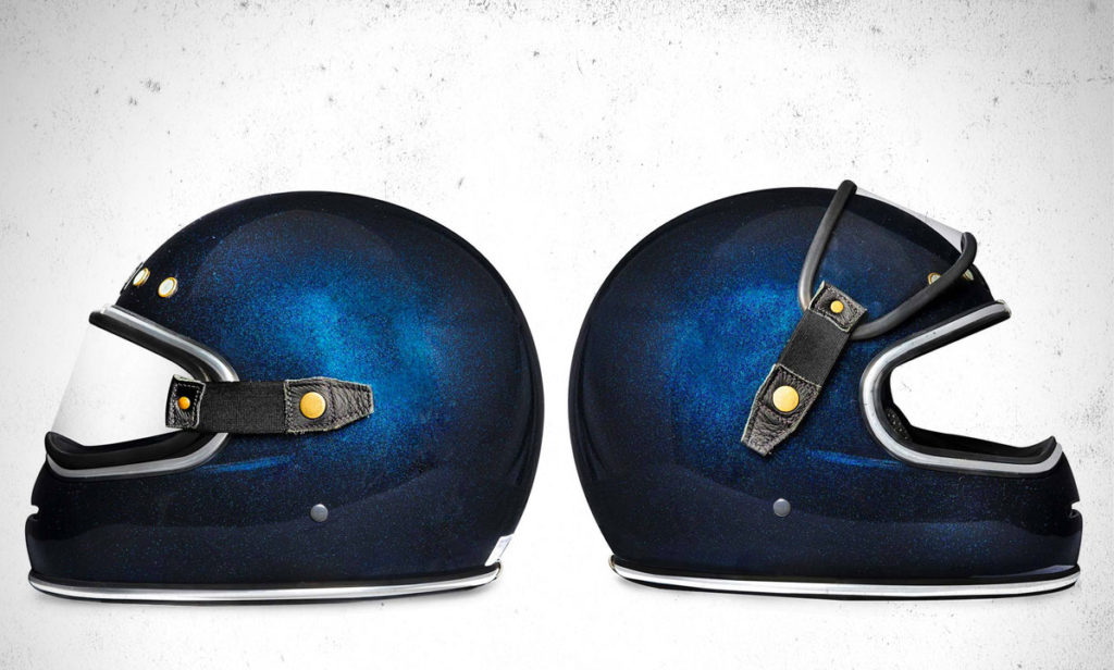 Return of the Cafe Racers - Riding Gear – Big Bore Flake Azul Helmet