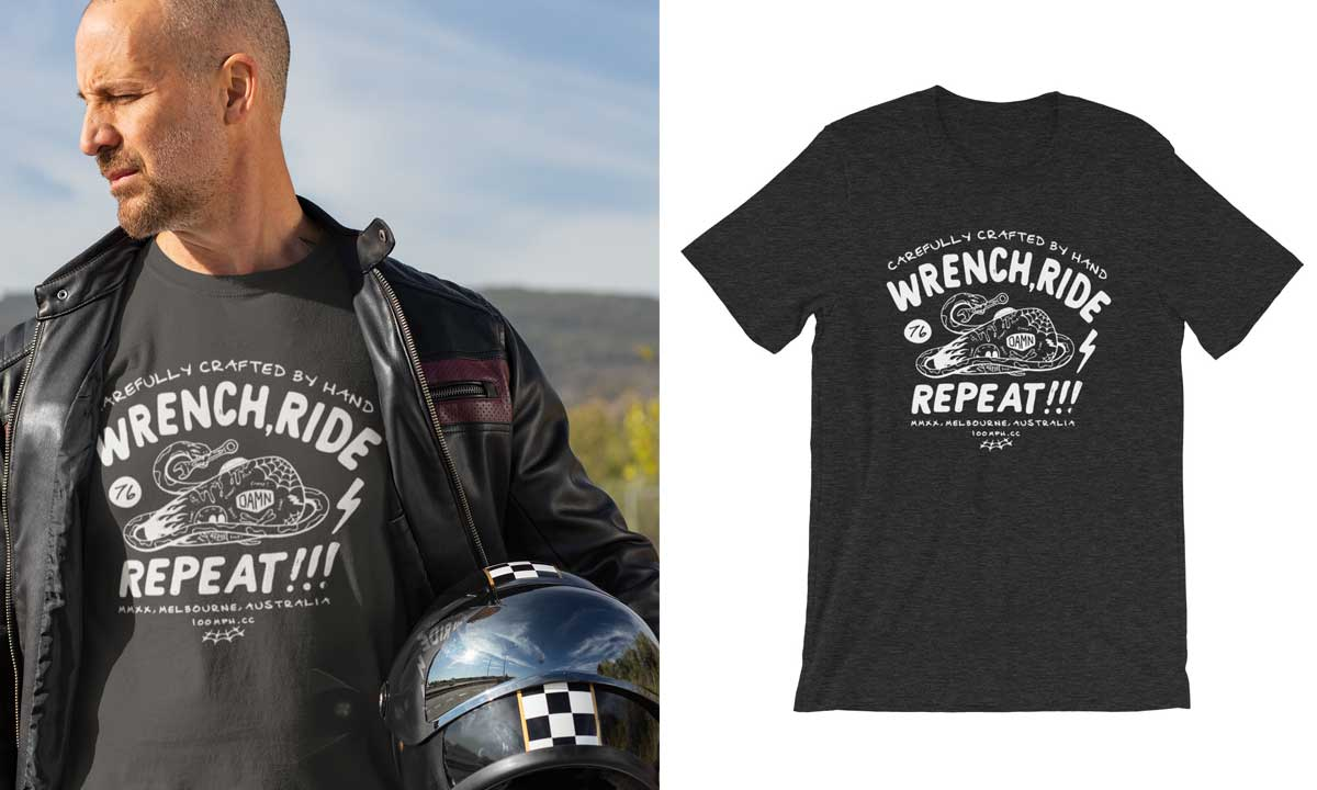 wrench ride repeat t-shirt