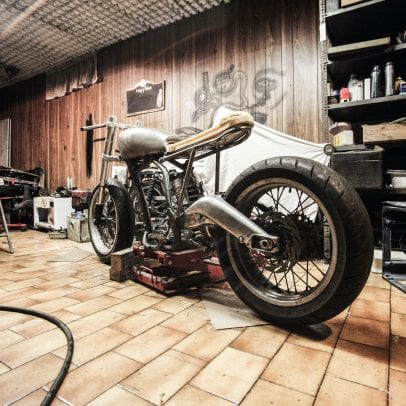 cafe racer in garage