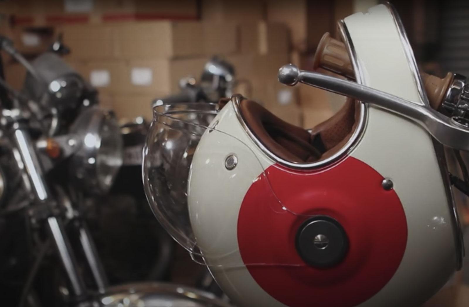 helmet resting on motorcycle