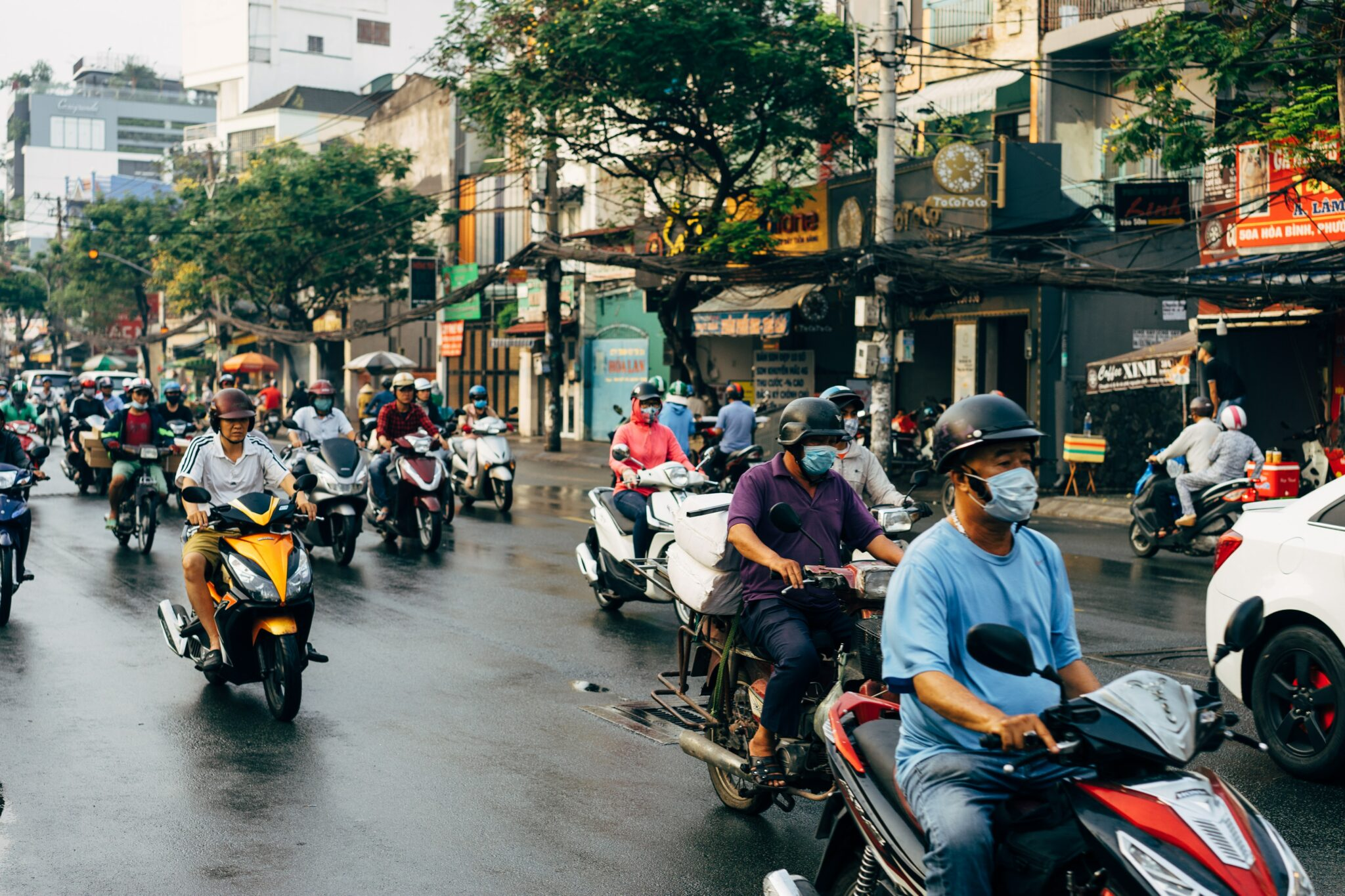 Motorcylists in Asia