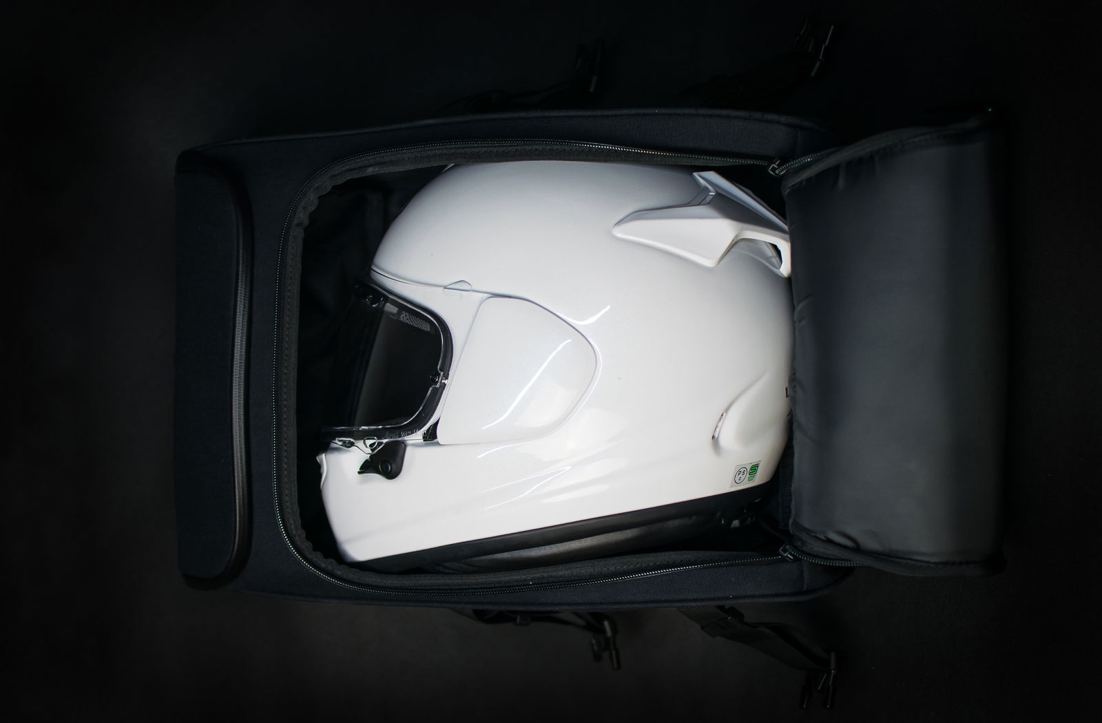 Helmet fitted inside the Expedition backpack