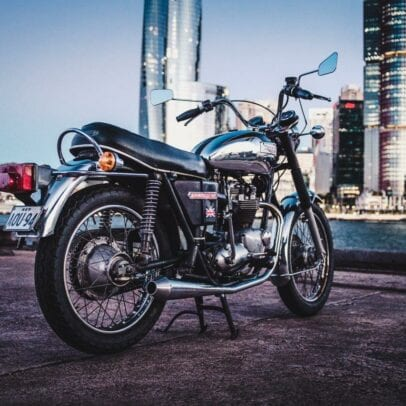 1973 Triumph Bonneville T140V with Sydney City in Background