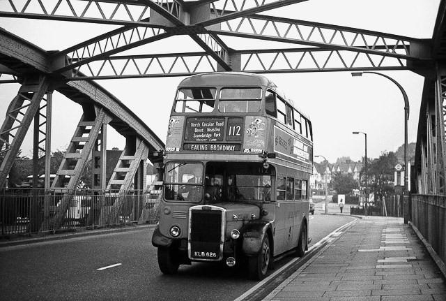London Bus on North Circular Road, London, 1959
