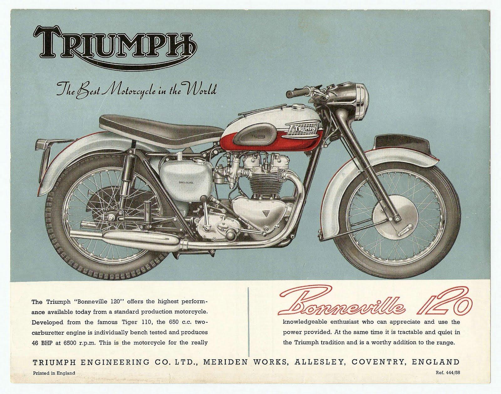 Triumph Motorcycles brochure Bonneville T120 1959
