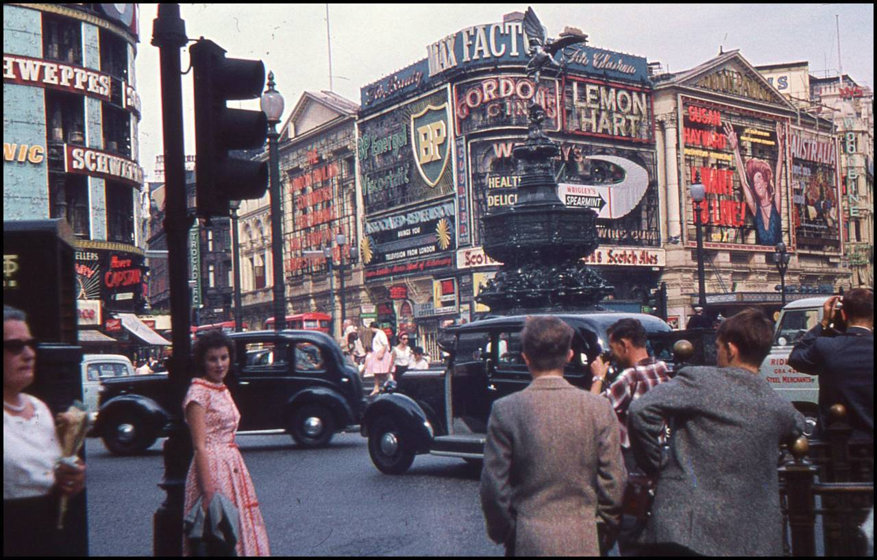 Picadilly Circus in London summer 1959