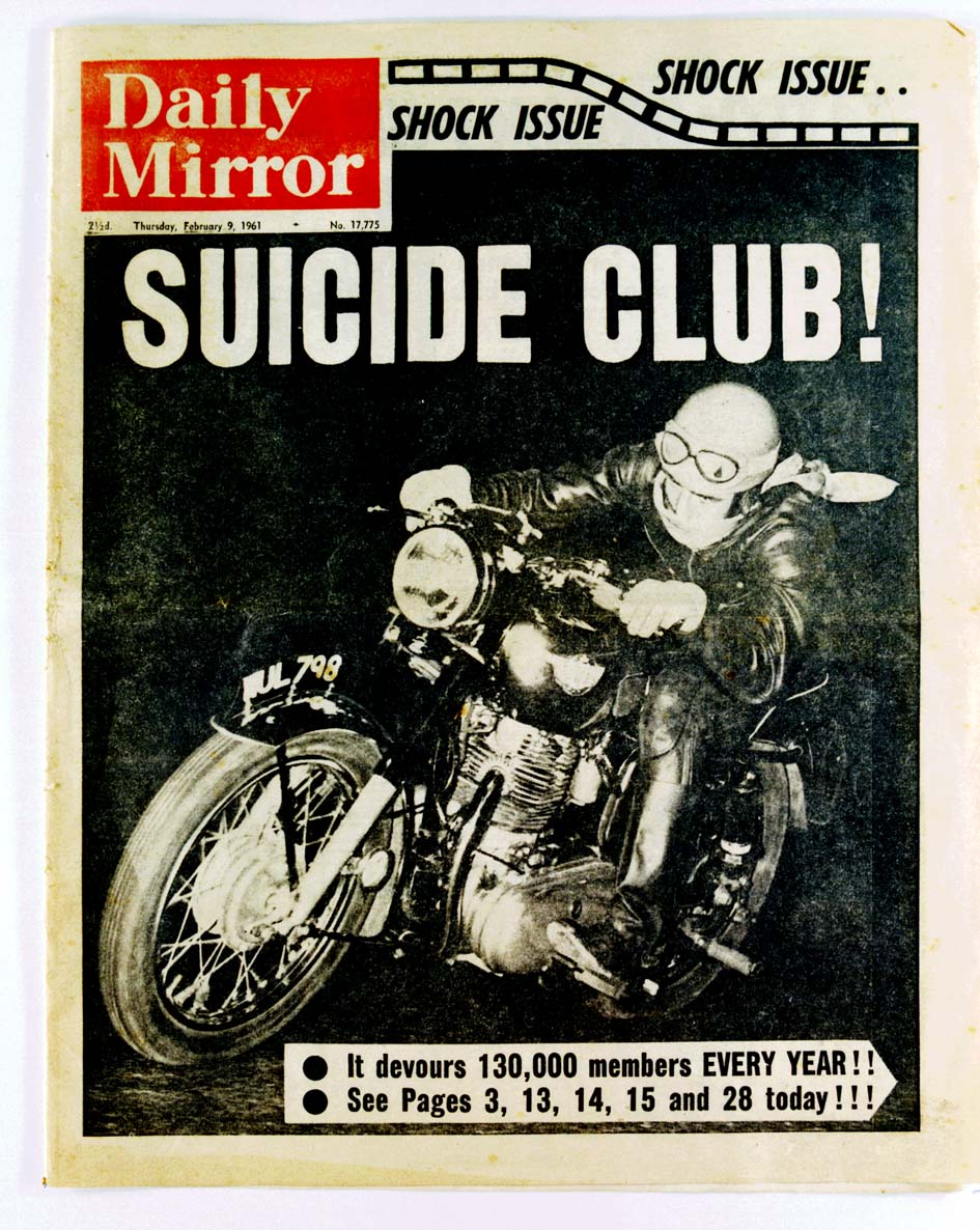 Daily Mirror Suicide Club front page 1961 Royal Enfield