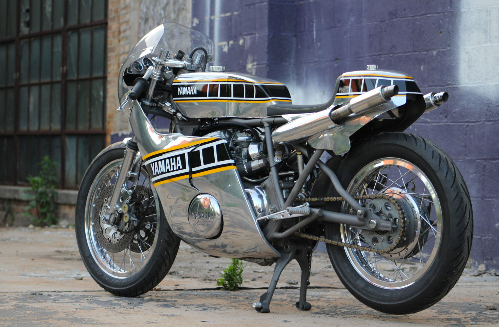 Yamaha with handmade aluminium bodywork
