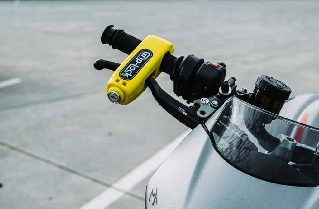 Bright Yellow Motorcycle throttle lock