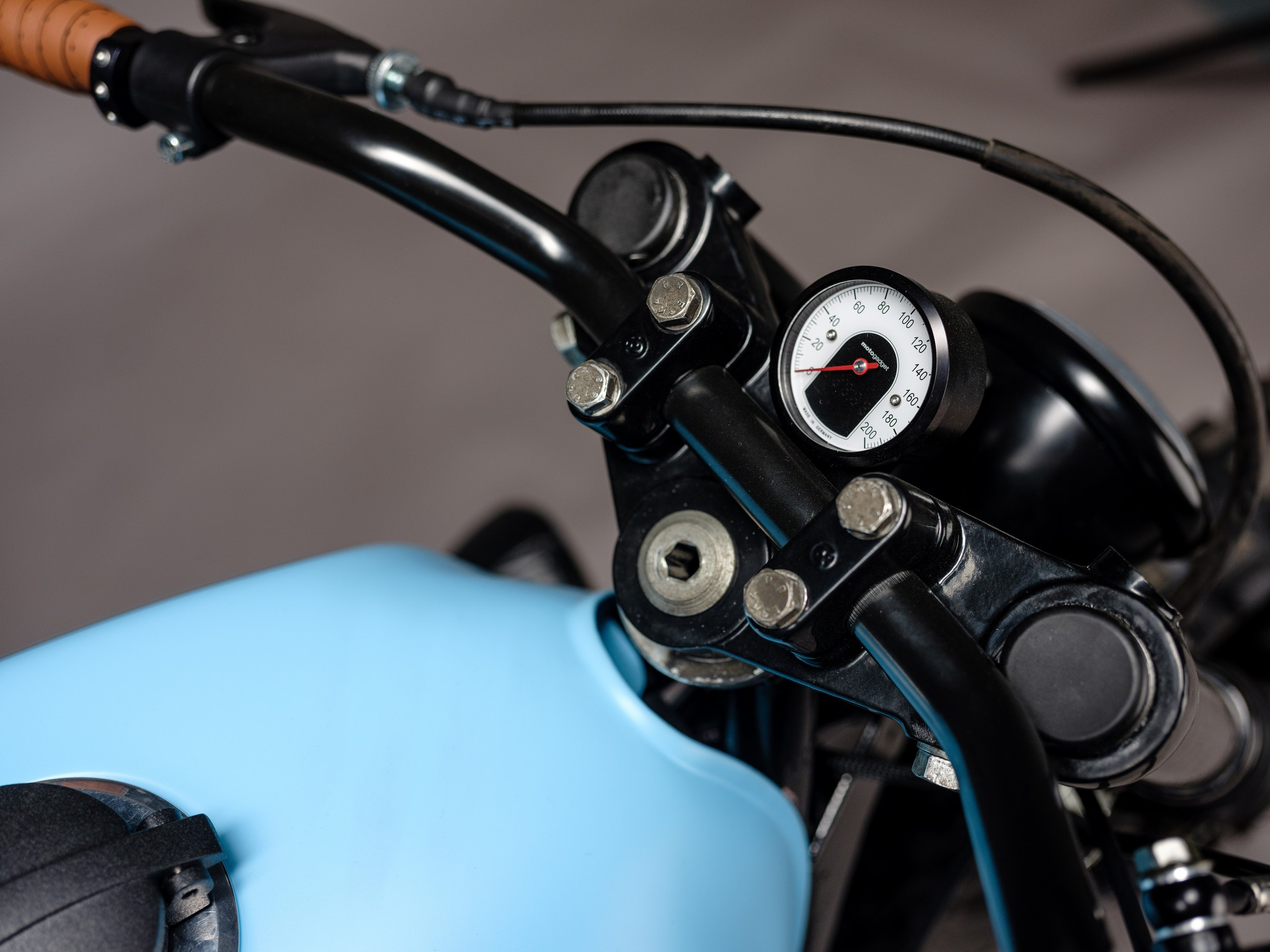 Seat detail for custom 1982 BMW R65 Scrambler from AMP Motorcycles in Germany