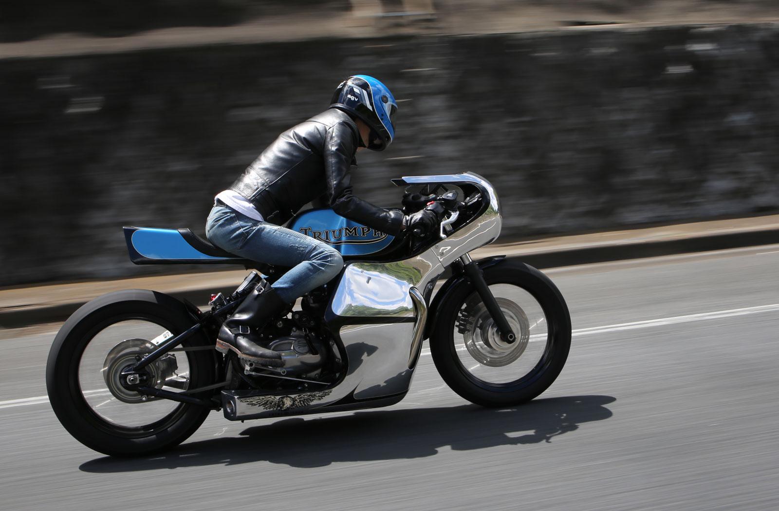 Hidemo riding his custom Triumph Bobber Cafe Racer