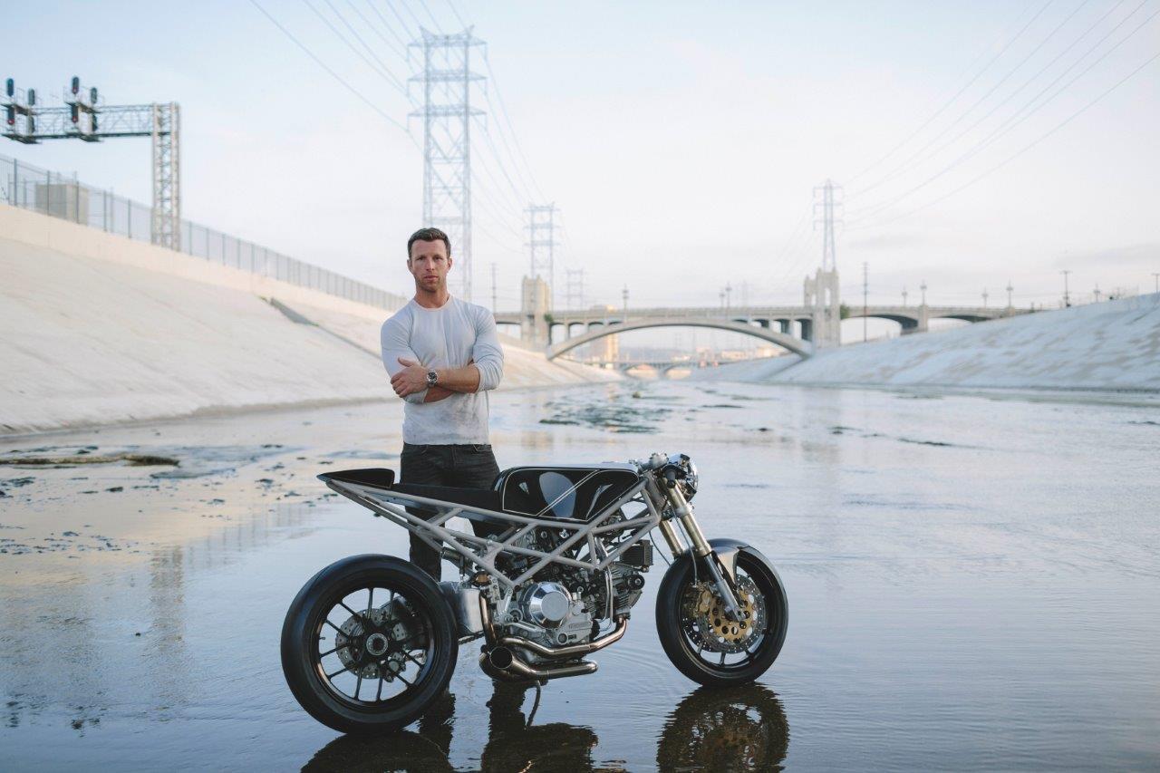 Max Hazan and his custom Ducati Motorcycle in a Los Angeles aqueduct