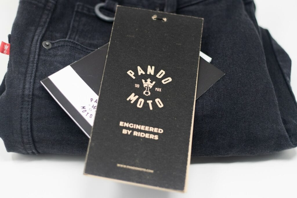 Pando Moto jeans tag