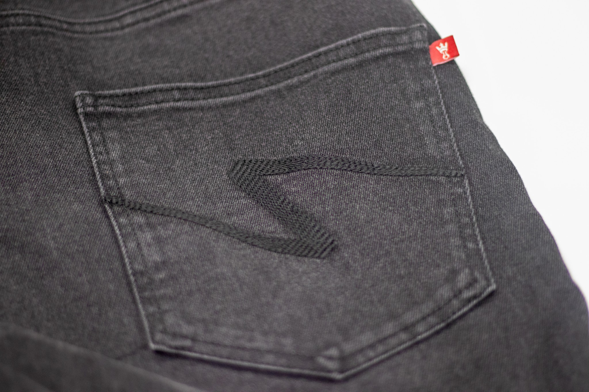 Closeup of rear pocket stitching