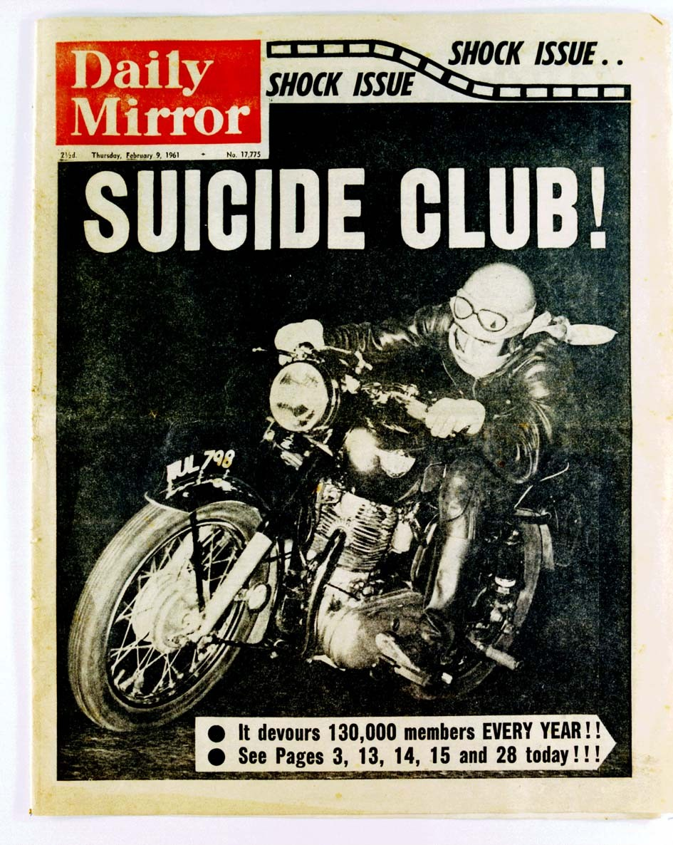 the front page of England's Daily Mirror from February 9th, 1961. The headline reads 'Suicide Club!' and talks sensationally about cafe racer motorcycles