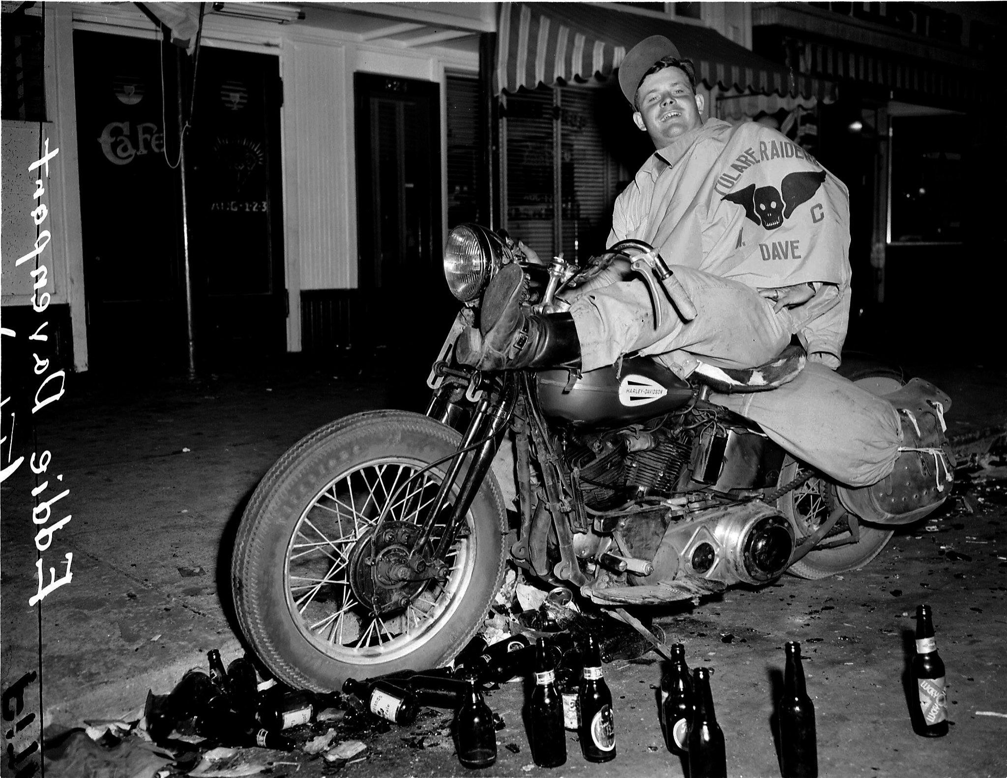 The famous 'Eddie Davenport' image from the Hillister 'Riots' in California, July 4th, 1947