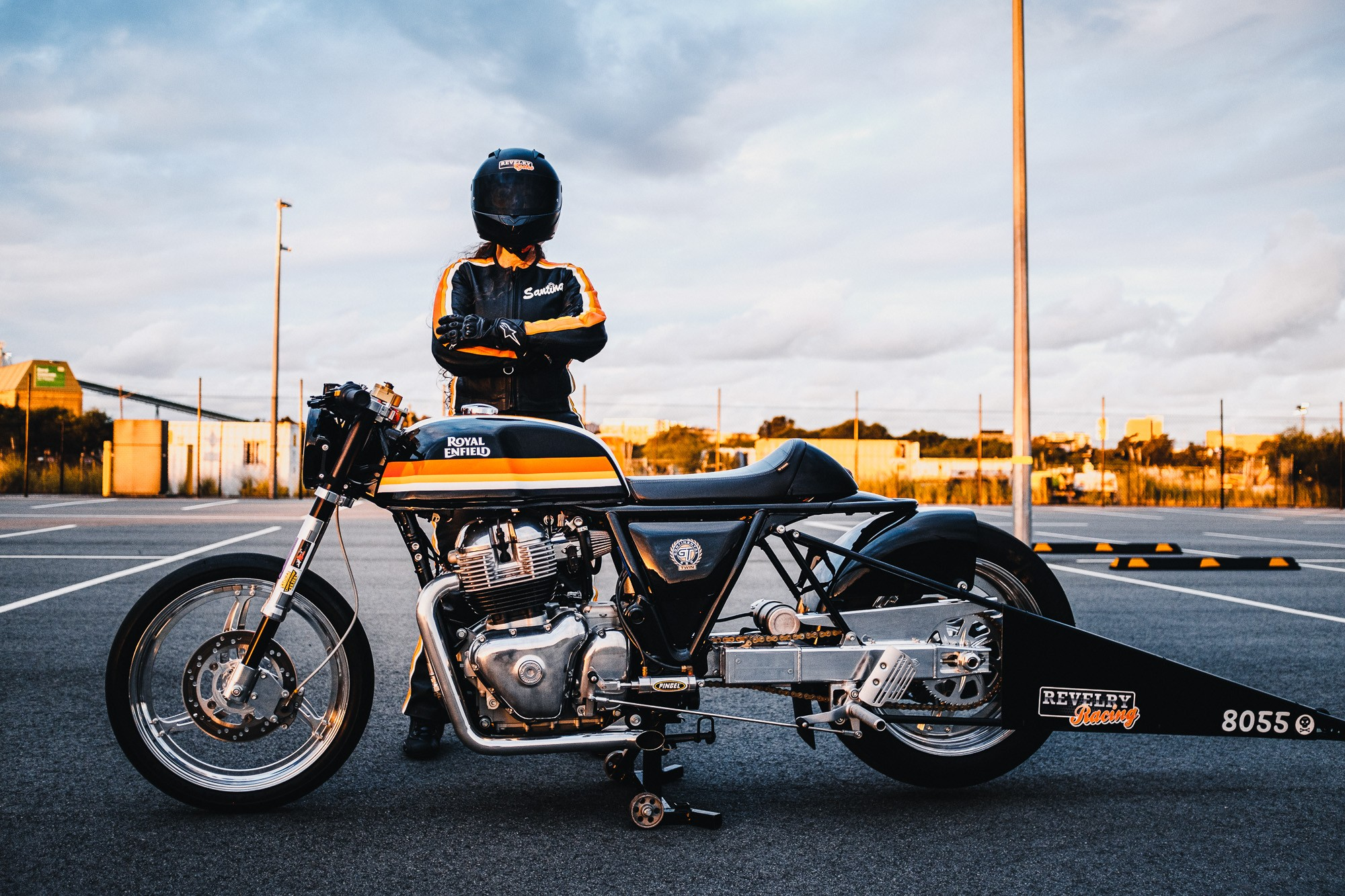 Santina Keith from Sydney's Revelry Racing and her Royal Enfield drag bike