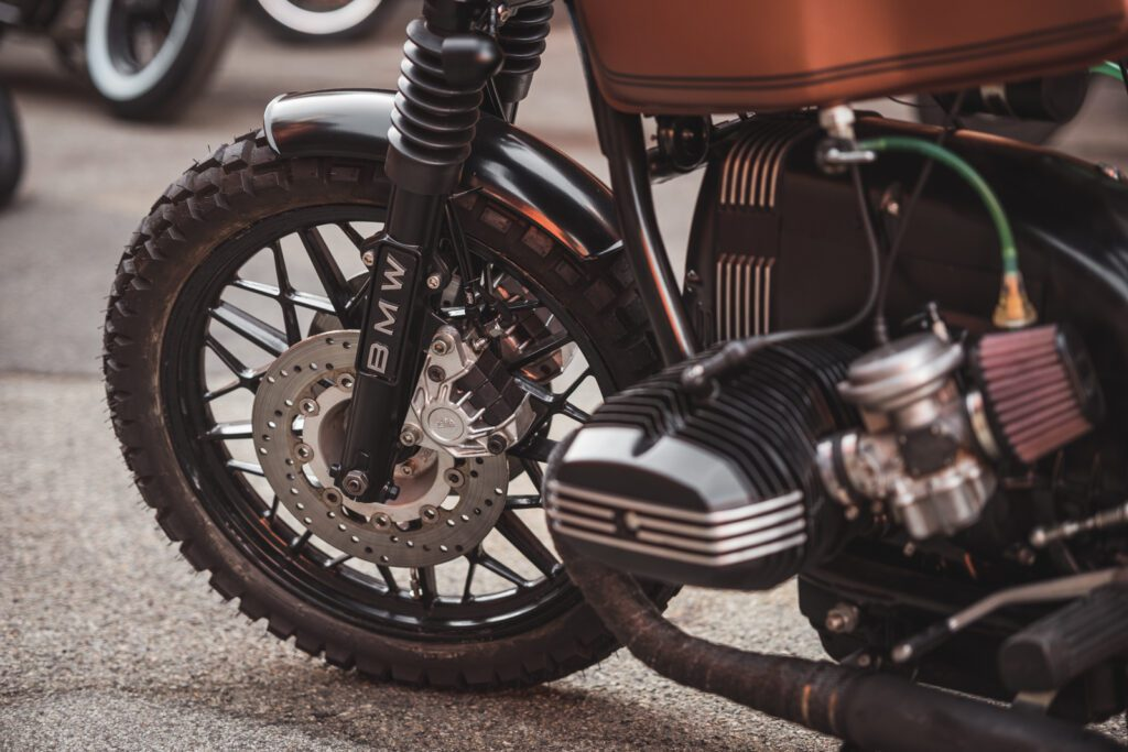 BMW R65 motorcycle front wheel