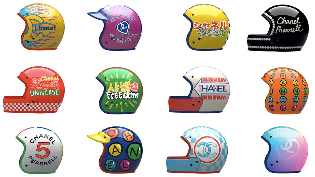 A range of Chanel Motorcycle helmets from 2019