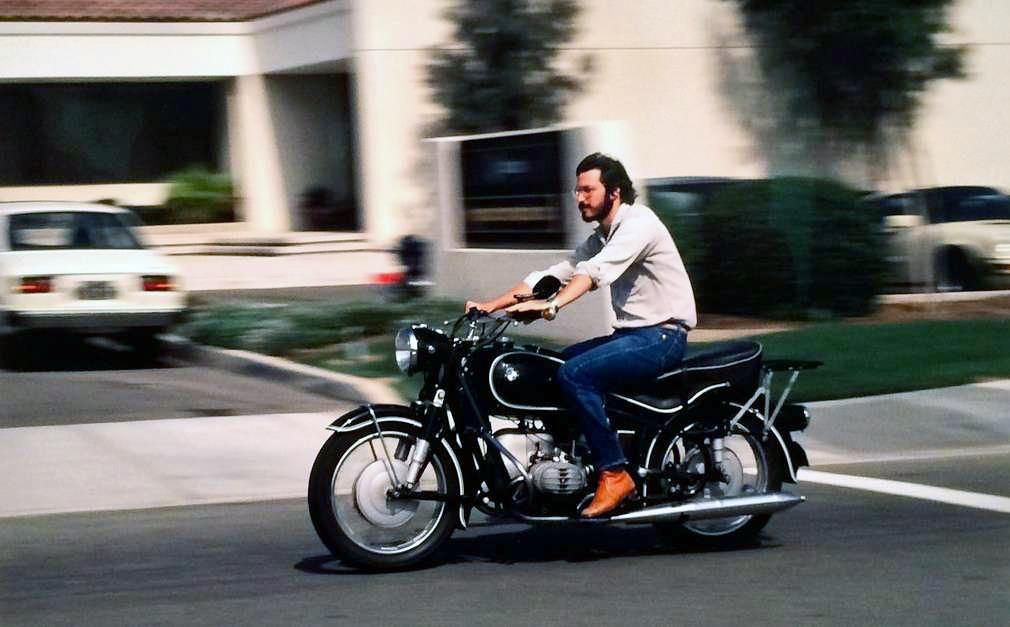 Steve Jobs rides through Silicon Valley on a BMW motorcycle in 1982