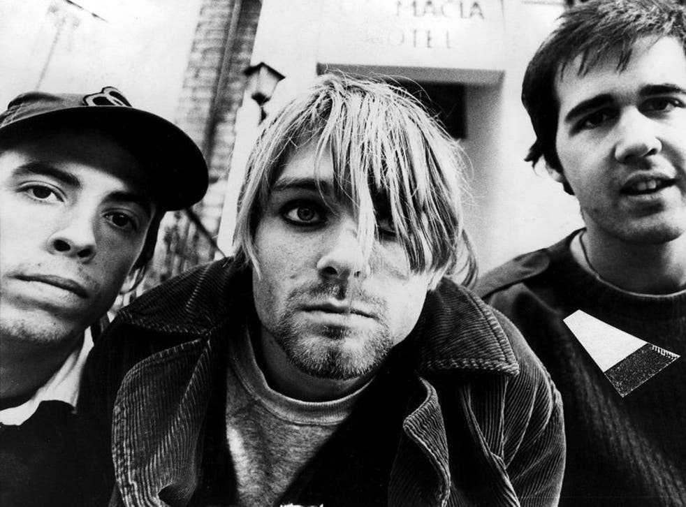 Nirvana pose for a photo in the mid 1990s