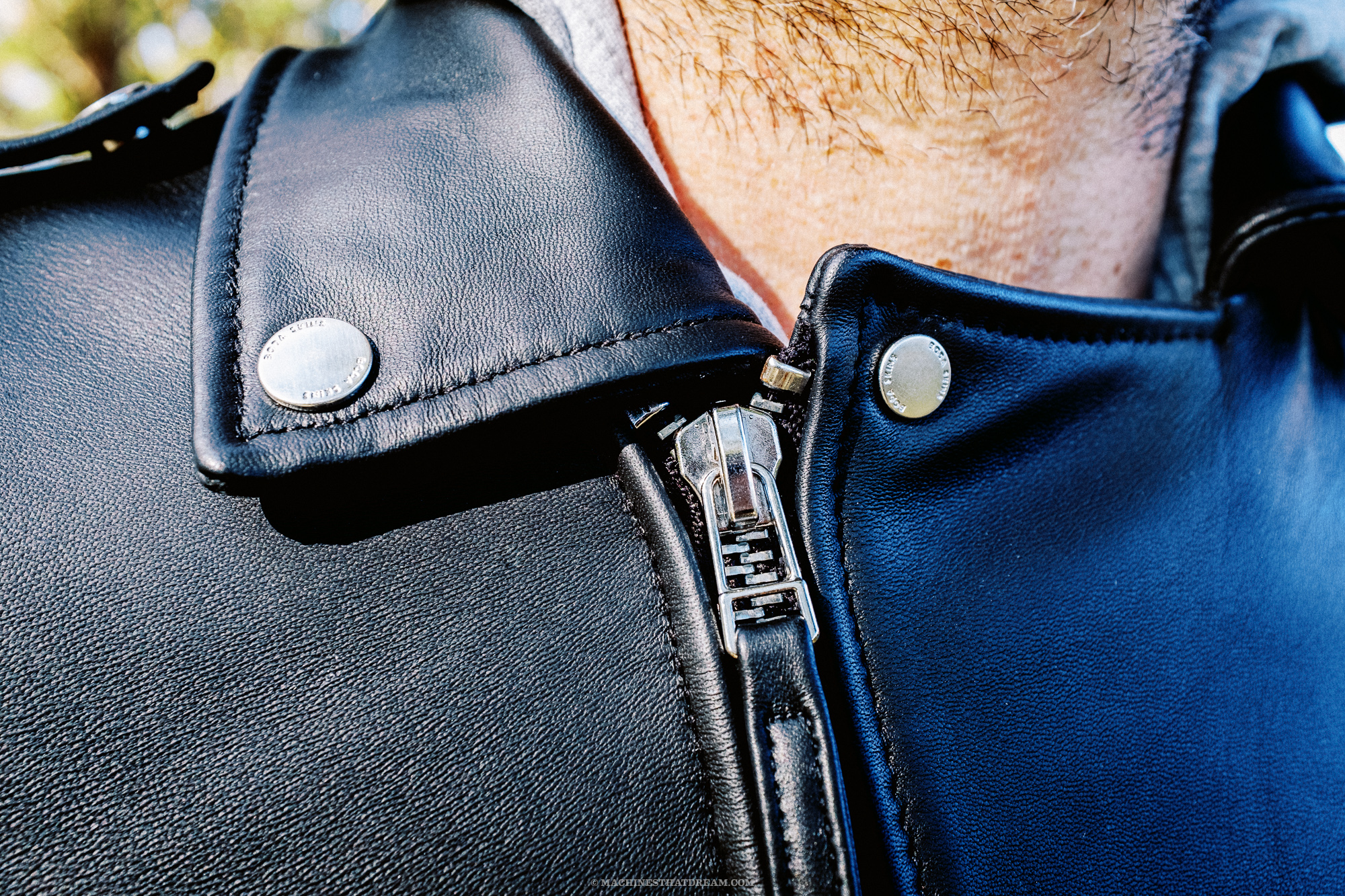 A detail shot of the Boda Skin's 'Voyager' leather motorcycle jacket