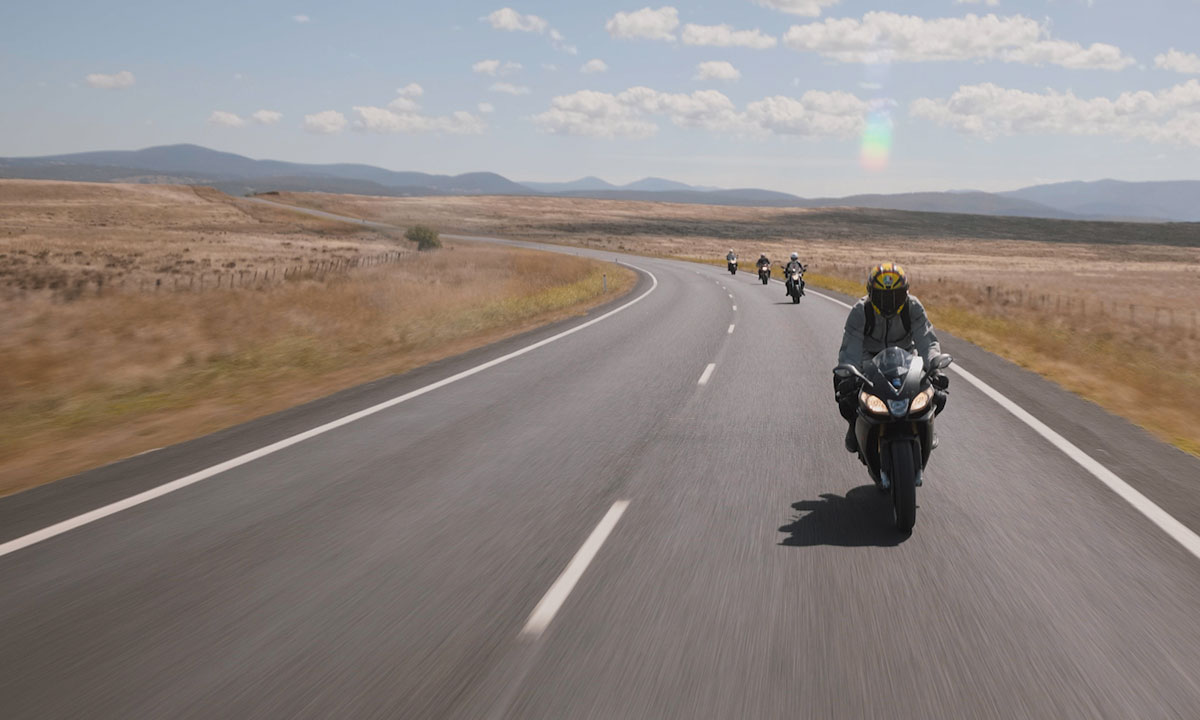 a group of motorcycle riders in Australia's Snowy Mountains Region.