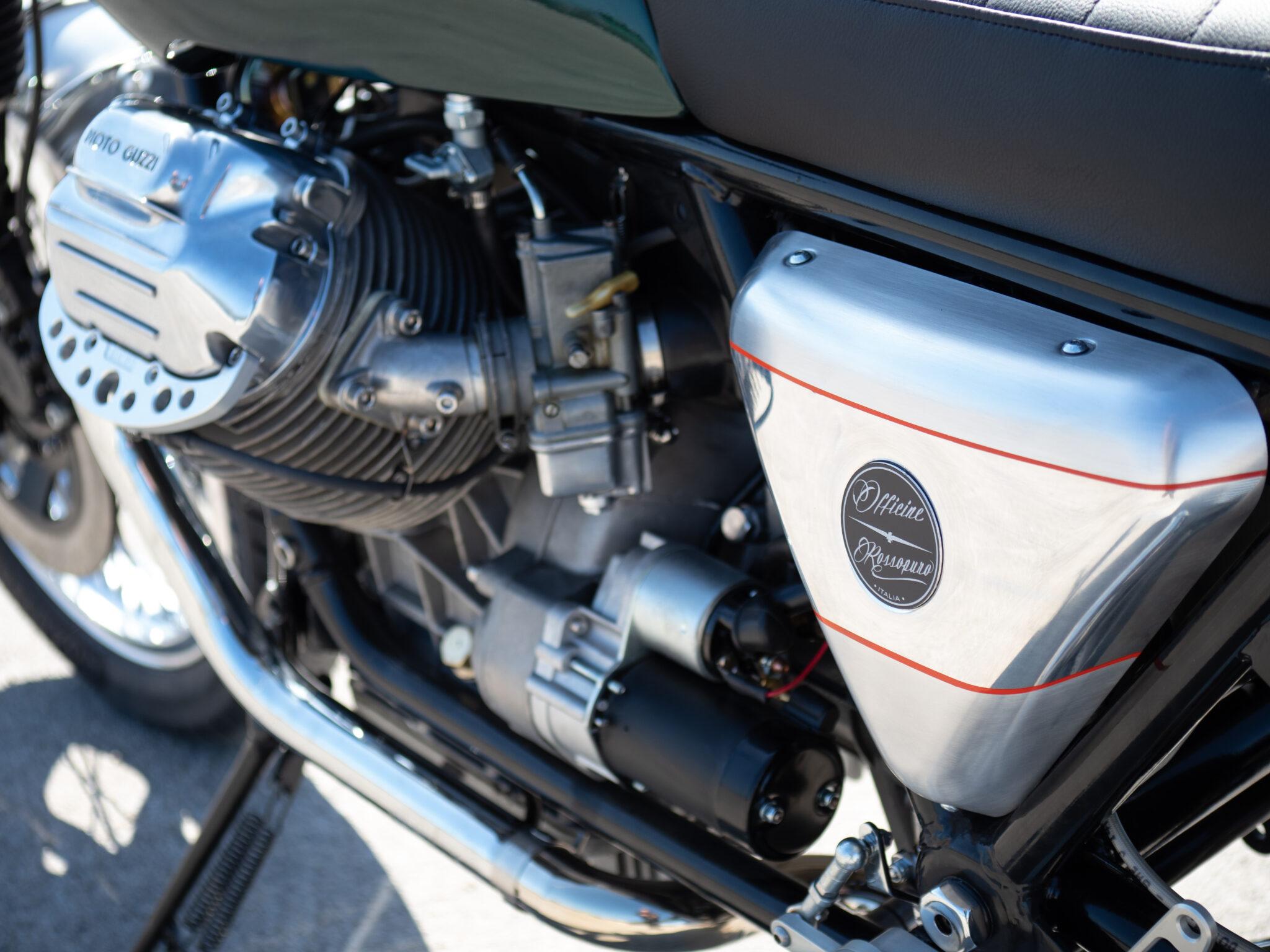 Closeup of Moto Guzzi SP1000 Tridente