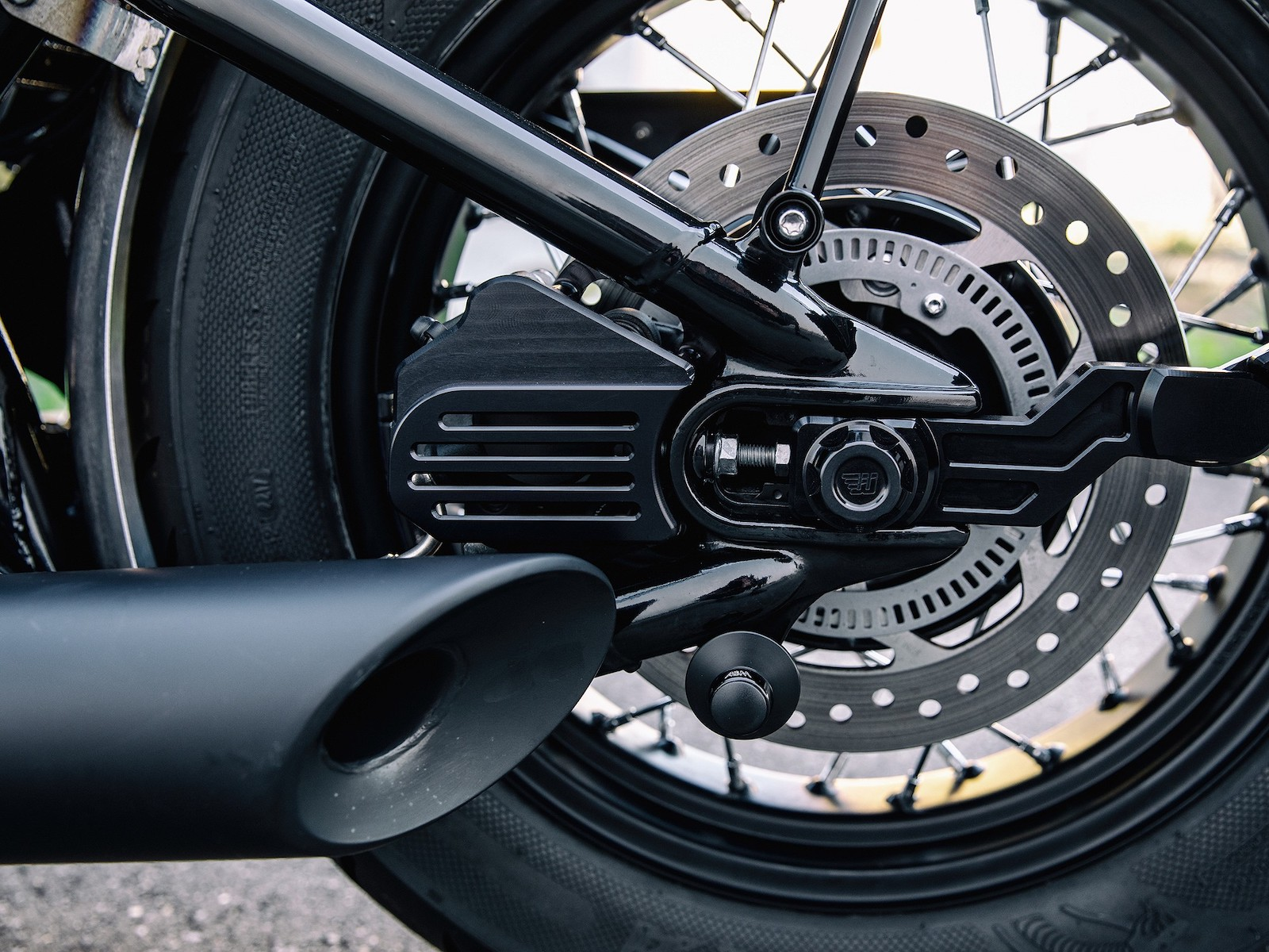 detail shot of an ABS braking system on a Triumph Motorcycle