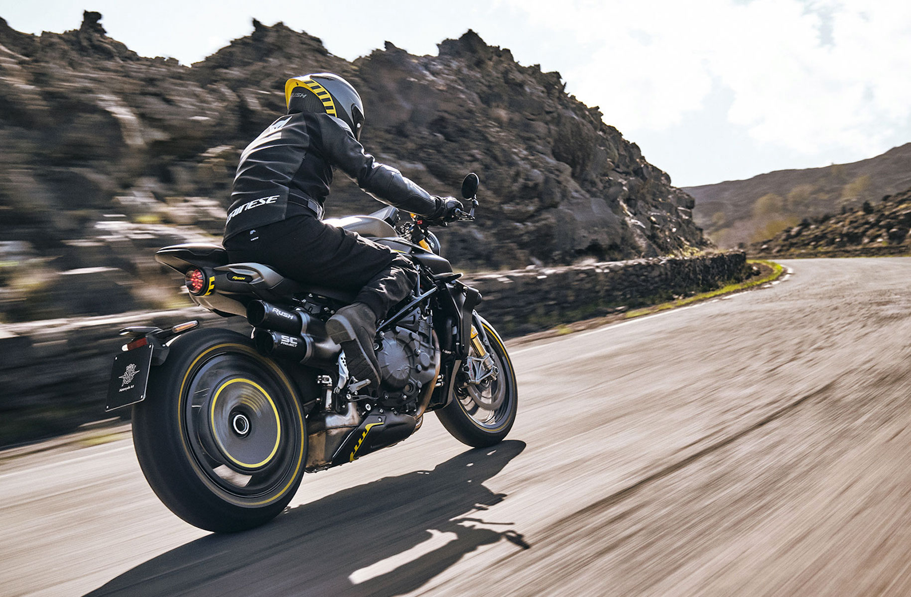 MV Agusta motorcycle takes a corner somewhere in Europe